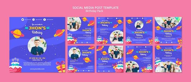 Modèle de publication de médias sociaux d'anniversaire