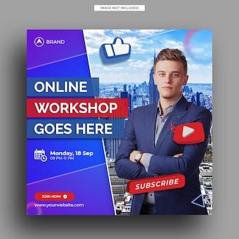 Modèle de publication sur les médias sociaux de l'atelier de diffusion en direct