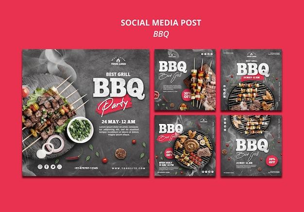 Modèle de publication de médias sociaux au barbecue