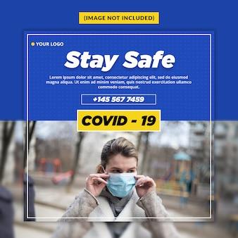 Modèle de publication de médias sociaux d'avertissement de virus corona