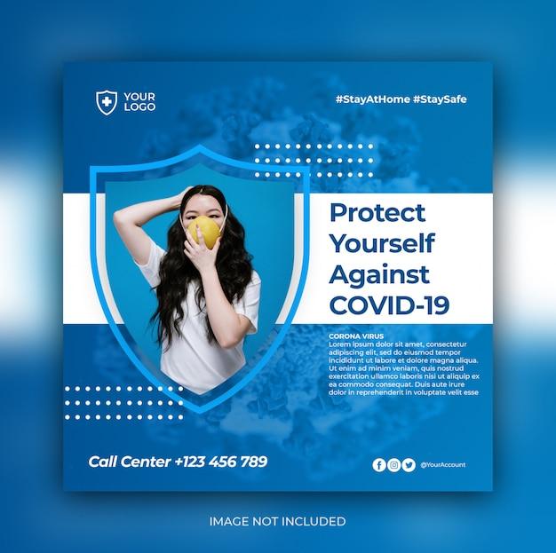 Modèle de publication de médias sociaux de bannière de prévention des coronavirus