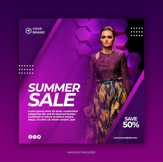 Modèle de publication de médias sociaux de bannière de vente de mode d'été