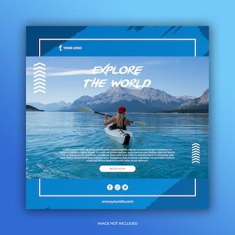 Modèle de publication de médias sociaux de bannière de voyage ou flyer carré