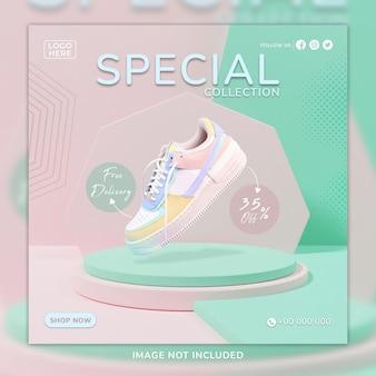 Modèle de publication de médias sociaux et de bannière web pour chaussures de sport roses avec fond 3d