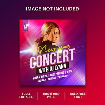 Modèle de publication sur les médias sociaux et de bannière web pour flyer de concert