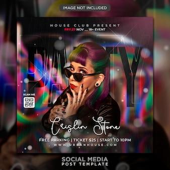 Modèle de publication sur les médias sociaux et de bannière web pour flyer de soirée club dj