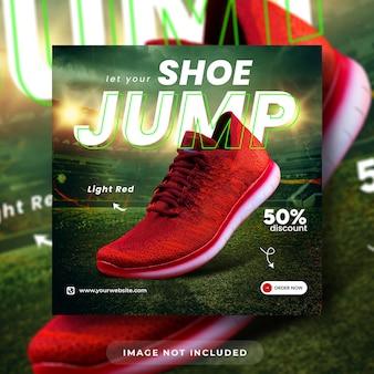 Modèle de publication sur les médias sociaux et de bannière web pour la promotion des produits de chaussures