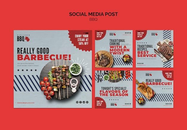 Modèle de publication de médias sociaux barbecue