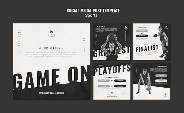 Modèle de publication sur les médias sociaux de basket-ball
