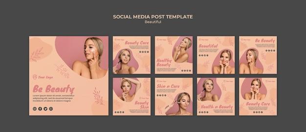 Modèle de publication de médias sociaux de beauté