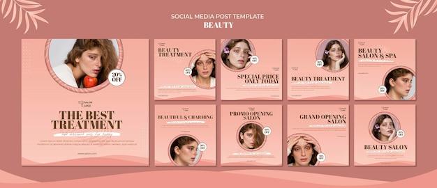Modèle de publication sur les médias sociaux de beauté