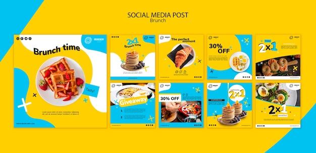 Modèle de publication de médias sociaux de brunch