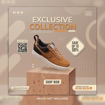 Modèle de publication de médias sociaux de chaussures de sport de collection exclusive avec un arrière-plan 3d