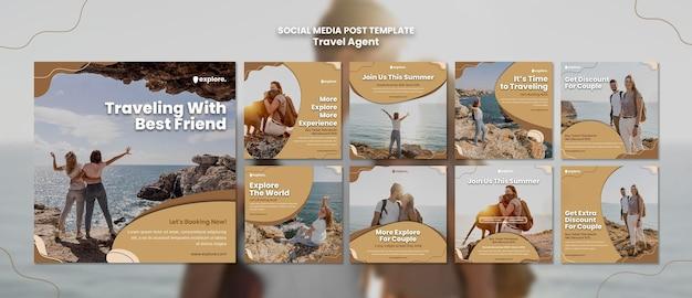 Modèle de publication de médias sociaux concept d'agent de voyage