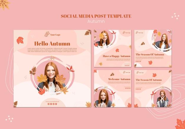 Modèle de publication de médias sociaux concept automne