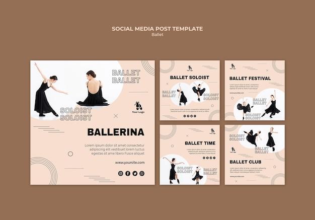 Modèle de publication de médias sociaux de concept de ballet