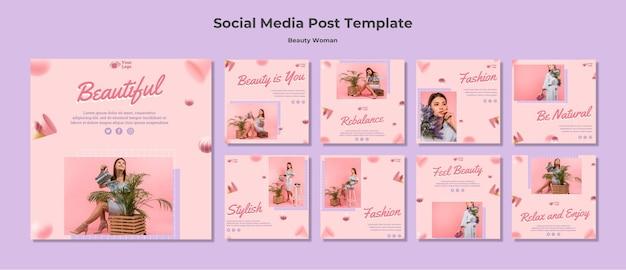 Modèle de publication de médias sociaux concept beauté femme