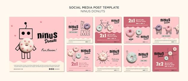 Modèle de publication de médias sociaux de concept de beignets