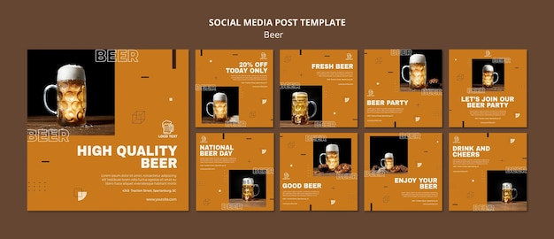 Modèle de publication sur les médias sociaux de concept de bière