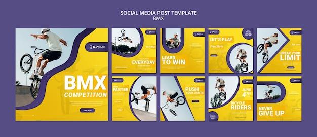 Modèle de publication de médias sociaux concept bmx