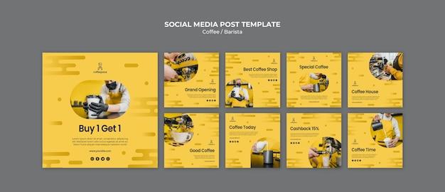 Modèle de publication de médias sociaux concept café