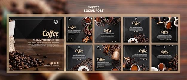 Modèle de publication de médias sociaux de concept de café