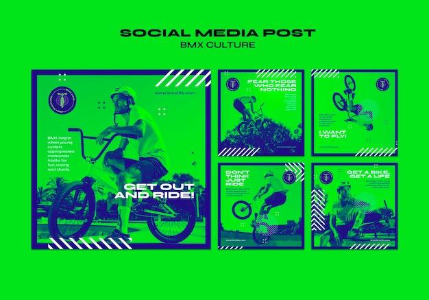 Modèle de publication de médias sociaux de concept de culture bmx