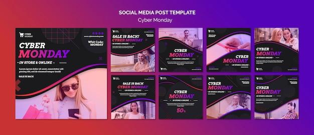 Modèle de publication sur les médias sociaux concept cyber lundi