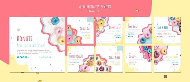 Modèle de publication sur les médias sociaux concept donut
