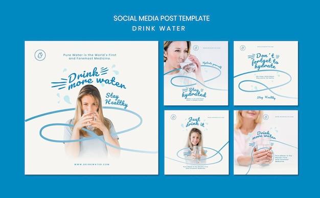 Modèle de publication de médias sociaux de concept d'eau potable