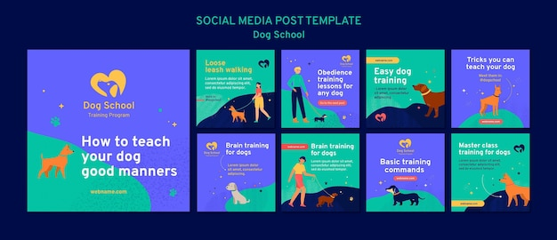 Modèle de publication de médias sociaux de concept d'école de chien