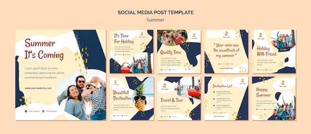 Modèle de publication de médias sociaux de concept d'été