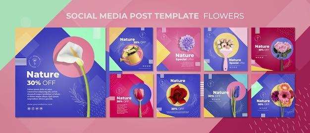 Modèle de publication de médias sociaux de concept de fleur