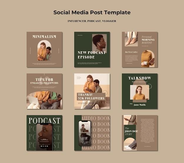 Modèle de publication sur les médias sociaux concept d'influenceur