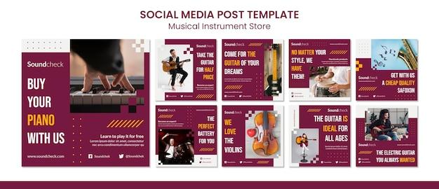 Modèle de publication de médias sociaux concept instrument de musique