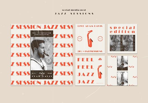 Modèle de publication de médias sociaux de concept de jazz