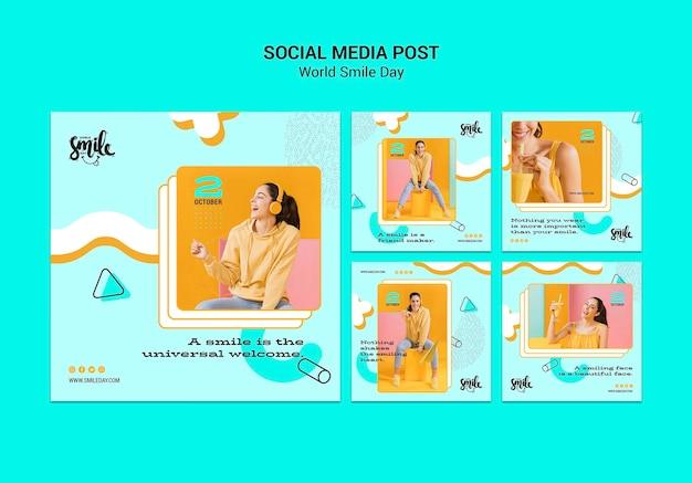 Modèle de publication de médias sociaux concept de journée mondiale du sourire