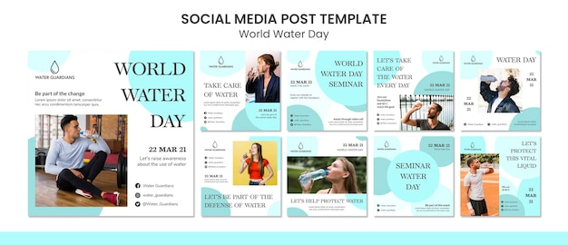 Modèle de publication de médias sociaux sur le concept de la journée mondiale de l'eau