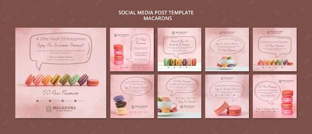 Modèle de publication de médias sociaux concept macarons