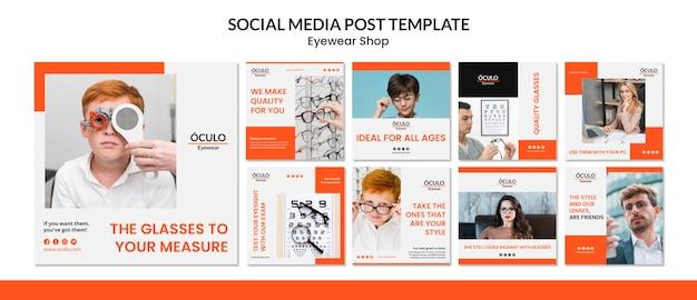 Modèle de publication de médias sociaux concept de magasin de lunettes