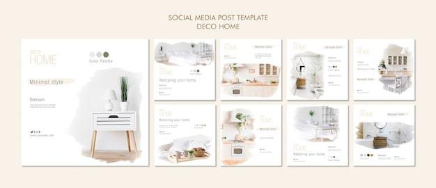 Modèle de publication sur les médias sociaux de concept maison déco