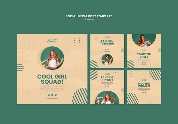 Modèle de publication de médias sociaux de concept de mode