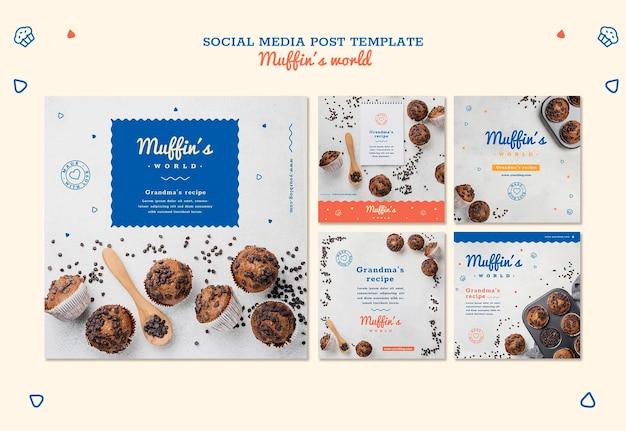 Modèle de publication de médias sociaux concept de muffins
