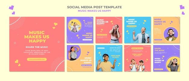 Modèle de publication de médias sociaux de concept de musique