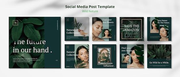 Modèle de publication sur les médias sociaux de concept de nature sauvage