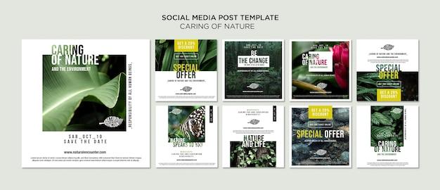 Modèle de publication de médias sociaux de concept de nature