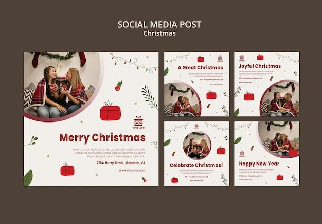 Modèle de publication de médias sociaux de concept de noël