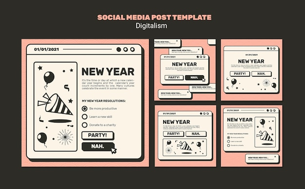 Modèle de publication sur les médias sociaux concept de nouvel an