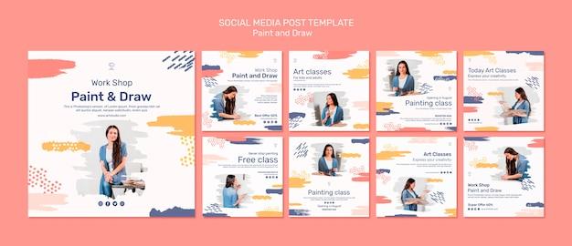 Modèle de publication de médias sociaux de concept de peinture et de dessin