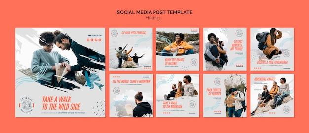 Modèle de publication de médias sociaux de concept de randonnée